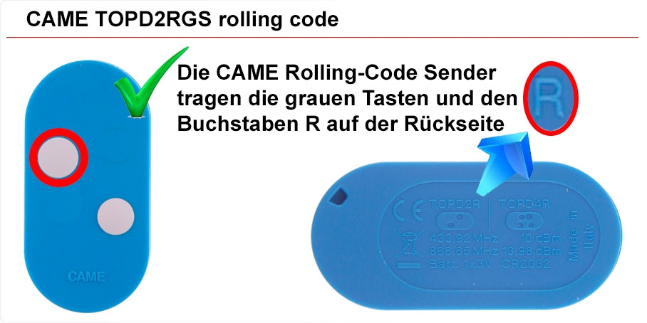 CAME rolling code